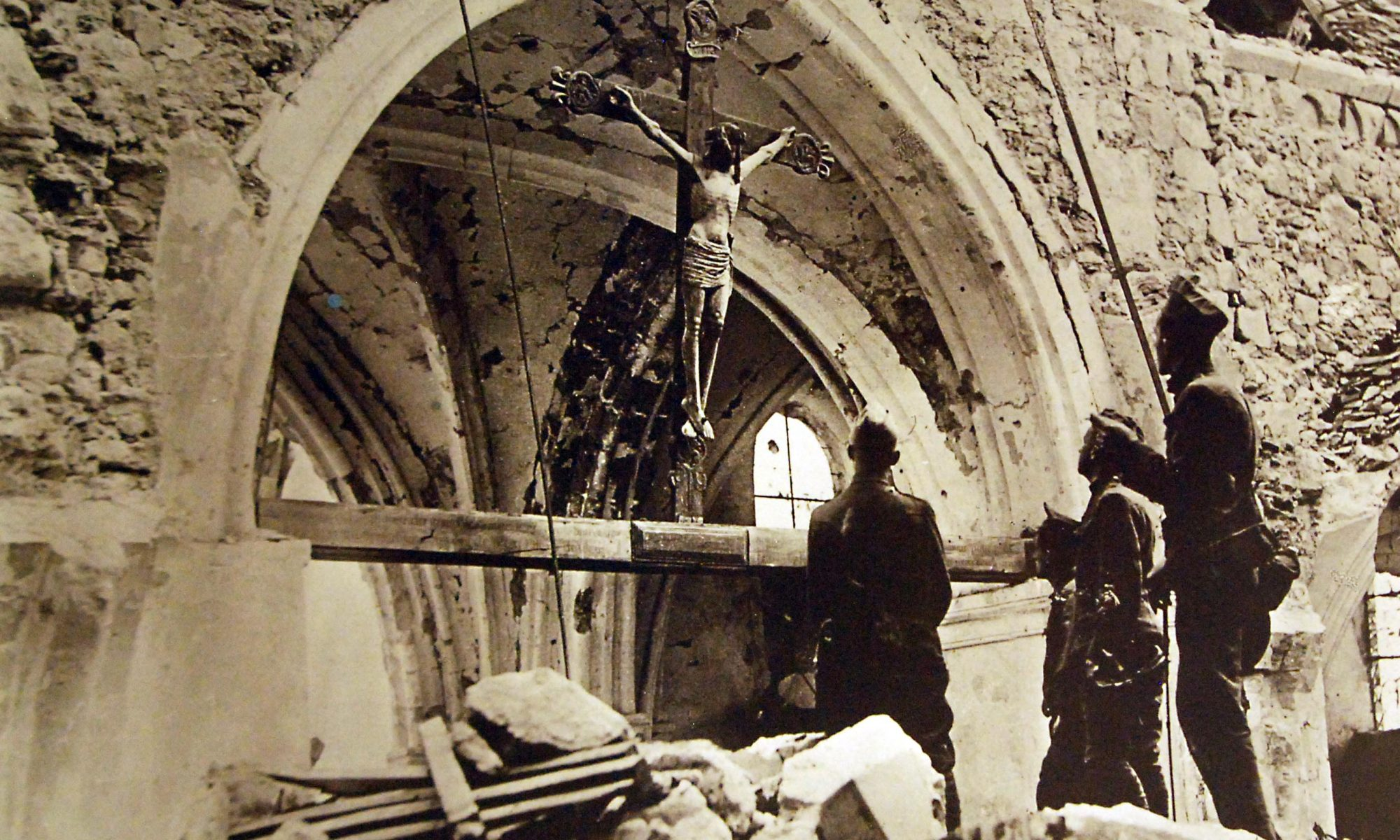 Soldiers at a church in France, World War I