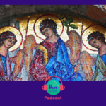 Icon of the Holy Trinity with the Hope Canteen Podcast logo
